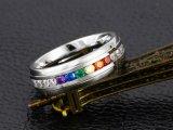 13897 de Ring van het Roestvrij staal van de Manier van de Charme van juwelen met Kleurrijke Zircon
