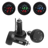 Thermometer USB-Aufladeeinheits-Zigaretten-Voltmeter des Auto-12V/24V 3 In1 Selbstdigital-LED