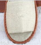 リネンタイプ布の/Openのつま先のスリッパの/PUの足底のスリッパ