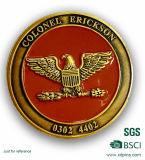 Forme ronde de couleur d'or avec la pièce de monnaie de souvenir d'Enamle de modèle d'ailes