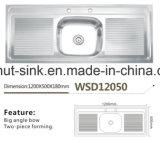 Kitchenware do dissipador Wsd12050 da placa do dobro da bacia da cozinha único