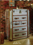 Gabinete de alumínio da antiguidade do lado da tampa do metal com gavetas