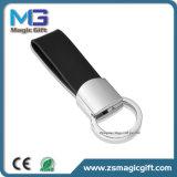 Cuoio su ordinazione Keychain del metallo dello spazio in bianco del catenaccio del regalo promozionale all'ingrosso