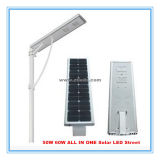 세륨 RoHS FCC 도로 점화를 위한 열거된 110lm/W 60W 통합 태양 LED 가로등