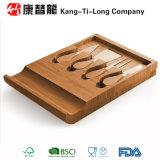 Placa de bambu da faca do queijo ajustada com gaveta