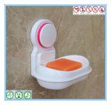 Bandeja plástica branca do sabão do banheiro com o copo da sução para fixado na parede