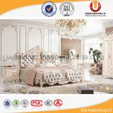 Кровать конструкции Antique китайского типа итальянская кожаный с рамкой твердой древесины для сбывания (UL-FT219A)