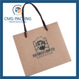 Sac de papier de Kraft Brown avec l'impression verte (CMG-MAY-052)