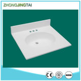 Sand dorato Artificial White Quartz Stone Vanity Tops con Sink