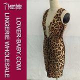 Frau Bodycon Leopard-mini reizvolles Kleid (L36096)