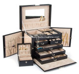 黒い革宝石箱旅行箱およびロック