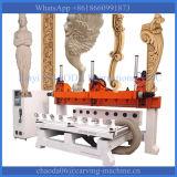 máquina do CNC da linha central da cabeça 4 do multi router do CNC da cabeça do CNC da madeira do eixo 4axis multi multi para fazer as estátuas de madeira dos pés da cadeira do sofá da mobília