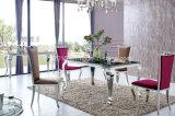 2016 vetri moderni dell'acciaio inossidabile che pranzano mobilia (SJ813)