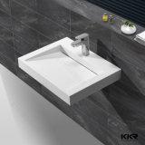 Lavabo de colada de piedra de acrílico de la mano, fregaderos modernos del cuarto de baño