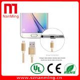 El teléfono móvil de aluminio cablegrafía el USB micro al Cable-Oro de carga del cable de datos del USB