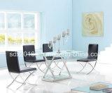 Tableau moderne d'acier inoxydable/Tableau en verre clair de table basse/thé