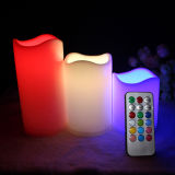 3 vastgestelde Color Changing LED Plastic Candle met Afstandsbediening