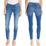 2016 calças de brim azuis da sarja de Nimes do algodão por atacado das mulheres da forma