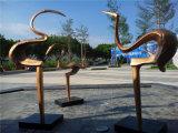 Abstrakte im Freien Vogel-Glas-und Stahl-Skulptur-Dekoration