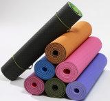 Цветастая циновка йоги TPE печатание при напечатанный логос тавра
