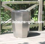 Brushed FinishのFo9047 Stainless Steel Polygon Flower Pot