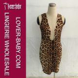 Vestito sexy dal leopardo di Bodycon della donna mini (L36096)