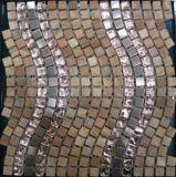 巻上げ様式の大理石の石の床タイル(FYSMG130)のための水晶ステンレス鋼のモザイク