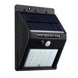 Lumière imperméable à l'eau actionnée solaire extérieure de mur de détecteur de mouvement de SMD DEL