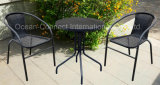 Bistro-gesetzte stapelnde Rattan-Stühle u. Tisch-im Freiengarten-Möbel