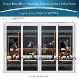 Алюминиевая раздвижная дверь с по-разному панелями и конструкциями и цветами