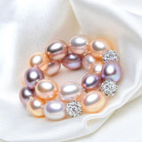 Kultiviertes Reis-Mischfarben-Flechten-echte Perle-Armband Perlen-Armband AAA-7-8mm