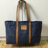숙녀를 위한 주문 고품질 밀초를 바른 화포 끈달린 가방