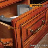 Gabinetes de cozinha luxuosos clássicos da madeira contínua da venda quente com console