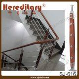 Acero inoxidable y balaustrada de madera en barandilla de la escalera (SJ-S307)
