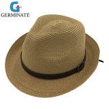 Sombrero de paja de papel con la corona de cuero Sh034 asociado venda de la PU