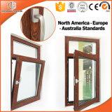 Madera de aluminio Color3 del acabamiento del grano de madera de roble rojo de la ventana 3D de la inclinación y de la vuelta de la rotura termal