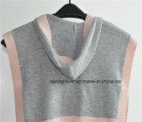 Mädchen-Sleeveless gestrickter Strickjacke-Poncho mit Schutzkappe