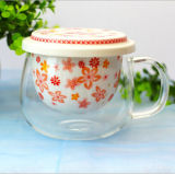 Kreativer keramischer Filter-rundes Borosilicat-Glas-Cup 300ml