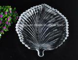 100%の無鉛の透過水晶葉デザインガラス・ボールの版のガラス製品Sx-014