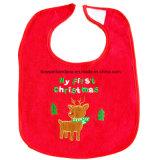 昇進の安く赤い綿のテリー布の赤い刺繍されたアップリケの赤ん坊のよだれの胸当て
