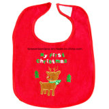 Bordado rojo de promoción rojo de algodón barato apliques de tela de toalla de bebé Baba babero