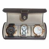 Caixa de relógio preta do curso do couro do plutônio do Oval para 3 relógios