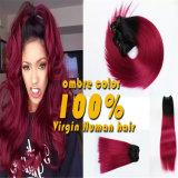 Extensão 100% do cabelo humano do Virgin da cor de tom de Ombre dois