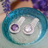 Sterlingsilber-eingelegte vorzügliche hängende Kristallhalskette der Frauen 925 mit Kette
