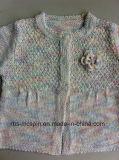 Gestrickte Strickjacke des Kindes für Mädchen-Regenbogen Garn-Effekt - Wolljacke