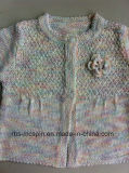 Camisola feita malha para o efeito do fio do Menina-Arco-íris - casaco de lã do miúdo