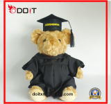 Luxuoso branco urso enchido da peluche da graduação do urso da graduação