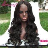 Cheveux humains 100% de Vierge vente en gros de perruque de lacet d'onde de corps de 26 pouces pleine