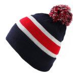 Chapéu de malha de malha de malha em branco Jacquard em branco personalizado POM POM