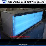 Il LED moderno ha illuminato il contro contatore commerciale della barra della pietra del Faux di disegno del contatore della barra